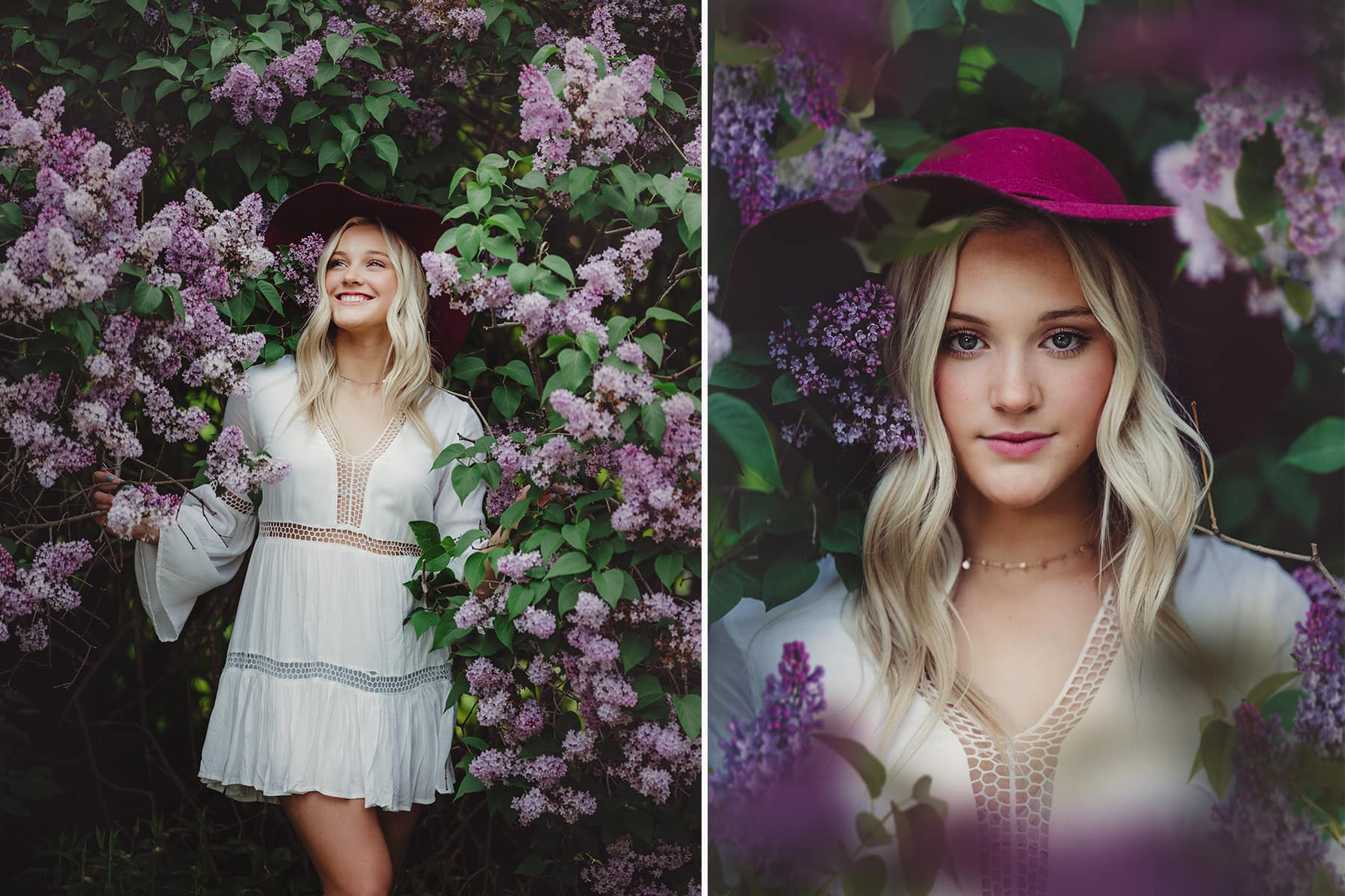 Senior Girl Poses in Lilac Flowers