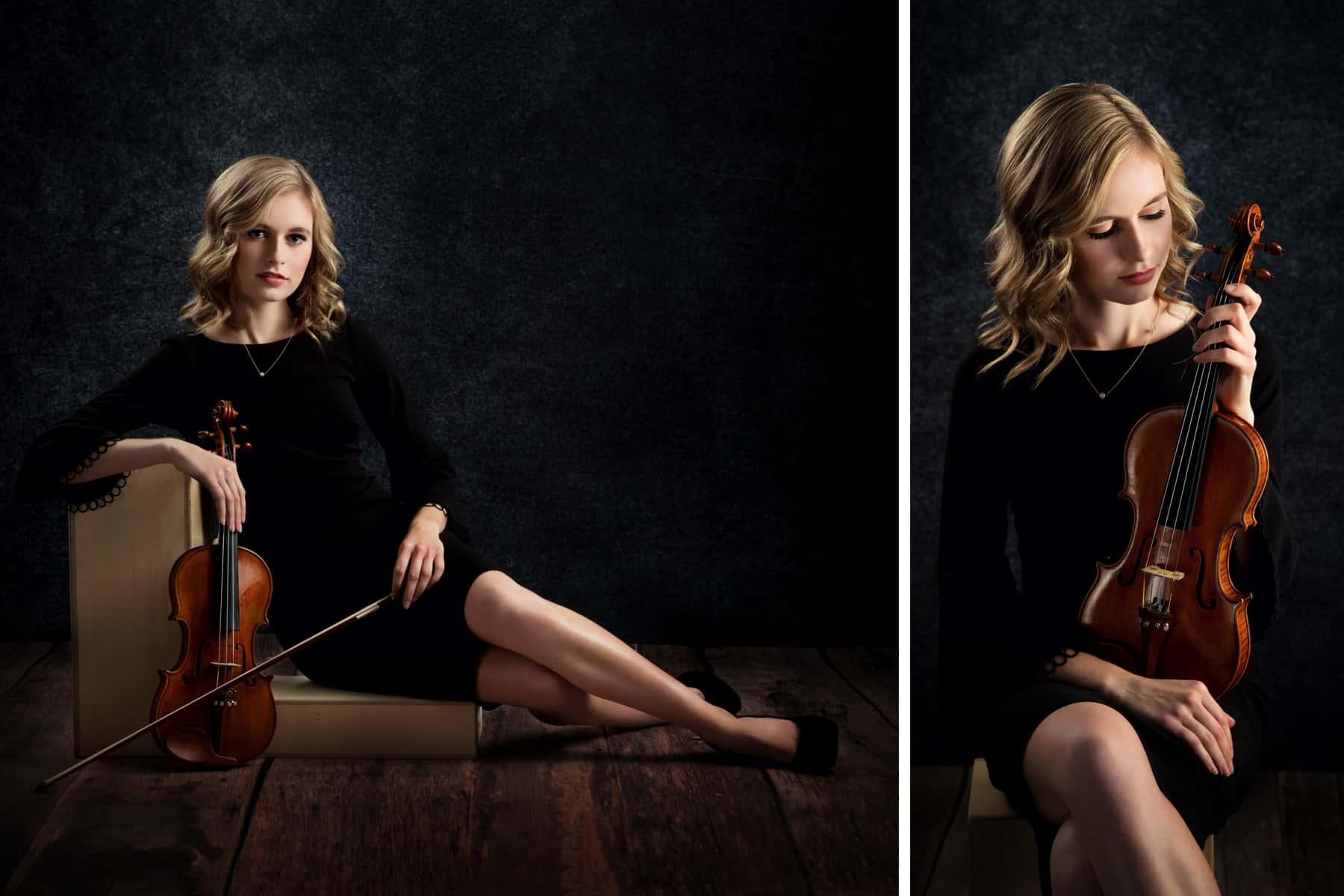 senior girl violin formal studio
