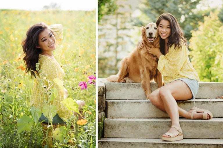 senior girl with dog